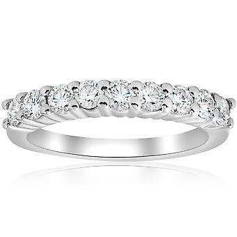 1ct diamant bröllop 14K vitt guld Ring nya Band