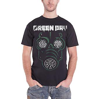 Green Day T Shirt Green Mask Gas Band Logo Official Mens Black