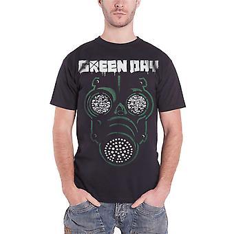 Green Day T Shirt grønne maske Gas Band Logo officielle Herre sort