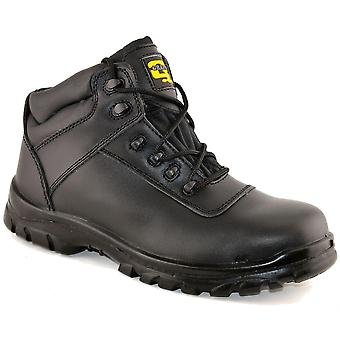 Mens Leather Safety Non Metal Fully Composite Ankle Lace Up Work Boots Shoe