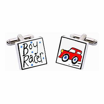 Red Boy Racer Manschettenknöpfe von Sonia Spencer, in Geschenkbox-Geschenk.