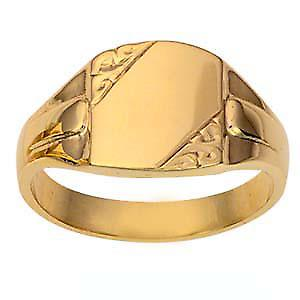 9ct Gold 14x12mm gents engraved rectangular Signet ring