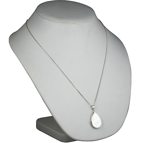 Silver 28x19mm engraved flat teardrop Locket with a curb Chain 24 inches