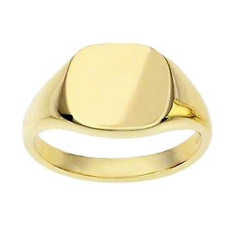 18ct Gold 13x13mm plain cushion solid Signet Ring Sizes W