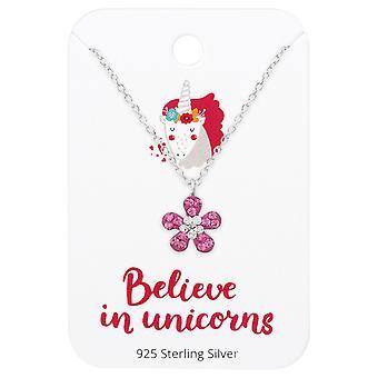 Flower Necklace On Believe In Unicorns Card - 925 Sterling Silver Sets - W36099x
