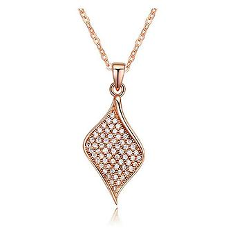 Womens Rose Gold Leaf Diamond Pendant Necklace