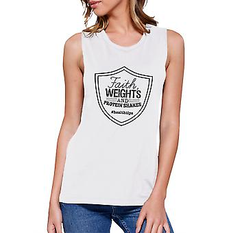 Faith Weights Womens White Cute Fitness Tank Top Muscle Shirt Gifts