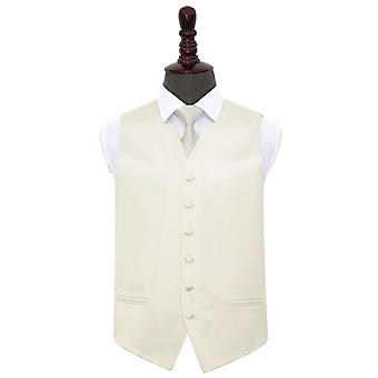 Ivory Plain Satin Wedding Waistcoat & Tie Set