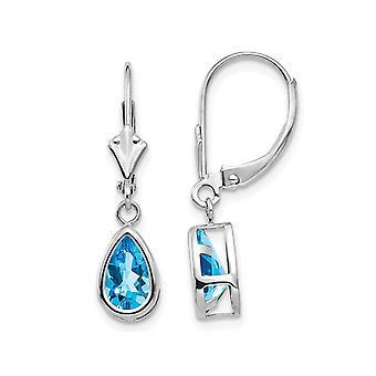 2.20 Carat (ctw) Natural Blue Topaz Leverback Dangle Earrings in 14K White Gold
