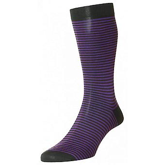 Pantherella Farringdon Classic Stripe Cotton Lisle Socks - Charcoal/Purple