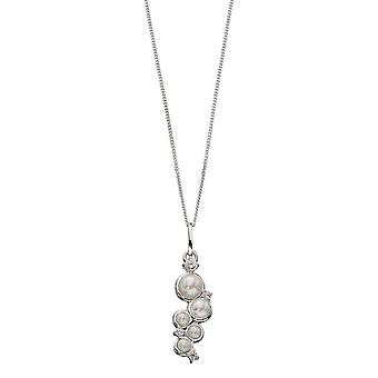 Elements Silver Pearl and Cubic Zirconia Drop Pendant - Silver/White