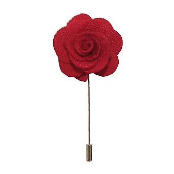 Red Handmade Flower/Rose Lapel Pin for wearing with men's suit jacket, blazer, dinner jacket or tuxedo jacket