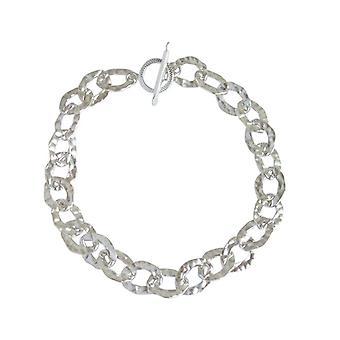 Gemshine - ladies - unisex - bracelet - solid 925 Silver - hammered - 19 cm