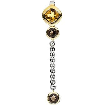 Pendant 925 sterling silver bicolor gold citrine 1 2 smoke crystals