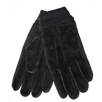 Mens Tom Franken echtes Wildleder-Handschuh mit warmen Thermofutter gestrickt Panels & Manschette