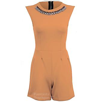 Ladies Fitted Sleeveless Diamond Necklace Zip Back Plain Women's Smart Playsuit