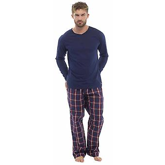 Mens Plaid Print Check Pants Jersey Top Pyjama Lounge Wear