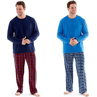 Harvey James Mens Check Thermal Pyjamas Pants Fleece Top Loungewear Sets