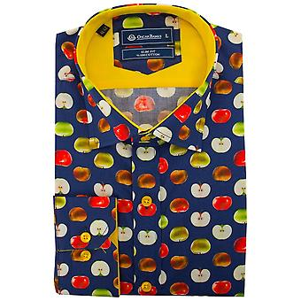 Oscar Banks Apple Print Mens Shirt