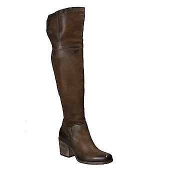 Handmade over the knee boots in brown leather