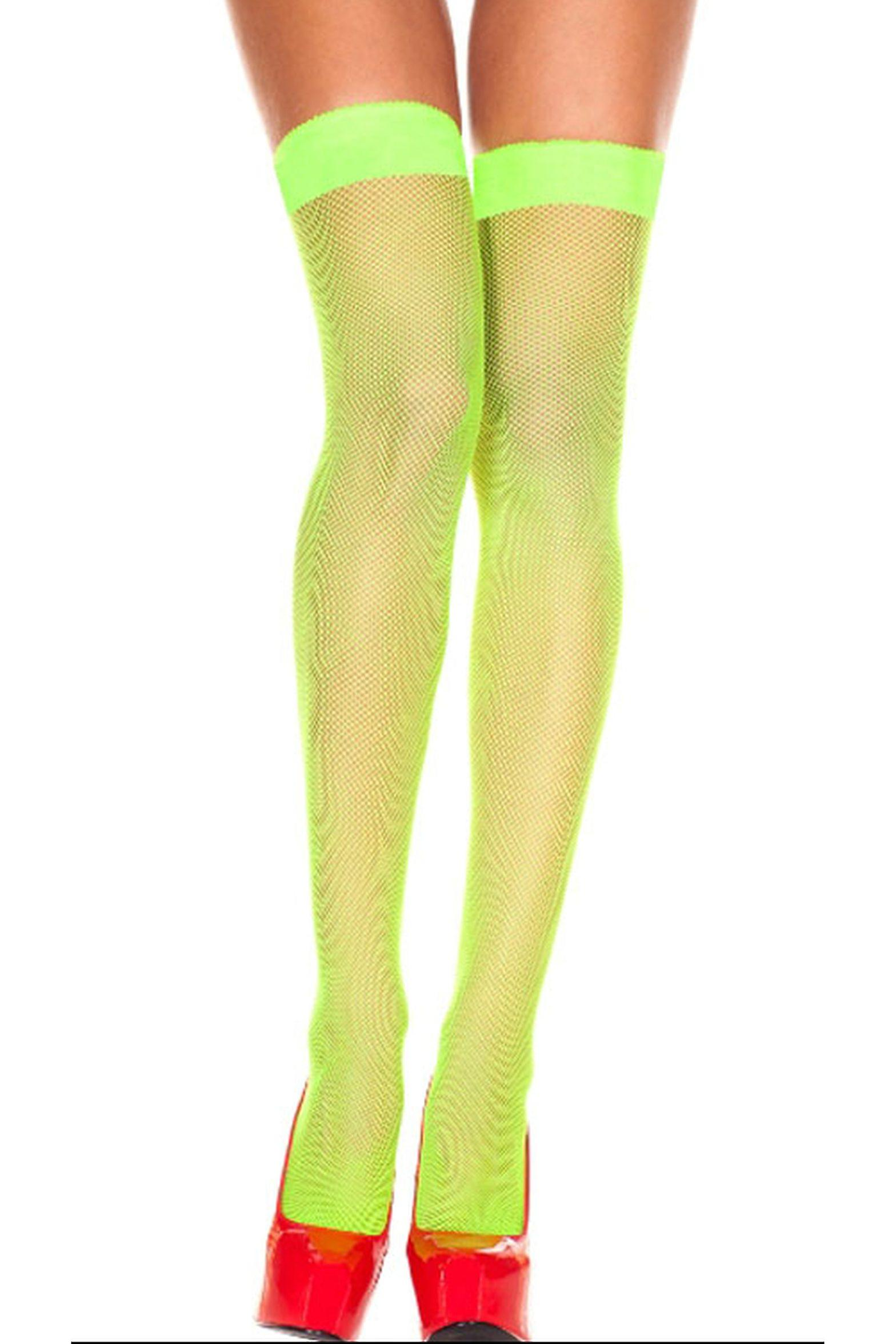 Stockings and leg accessories Women Fishnet tights green with lace detail