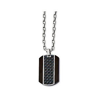 Mens Blue Carbon Fiber Dog Tag Pendant Necklace in Stainless Steel with Chain