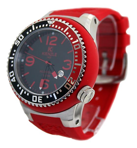 Waooh - Shows Kienzle 720 3045B - Red Silikon - schwarzes Zifferblatt - Metallbox Armband & rot - schwarz & rot