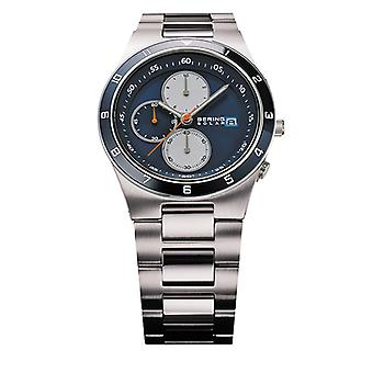 Bering Solar Silver Silver Stainless Steel Strap Mens Watches 34440-708 41mm