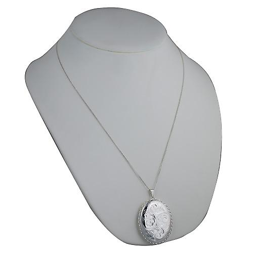 Silver 48x38mm hand engraved twisted wire edge oval Locket with a curb Chain 24 inches