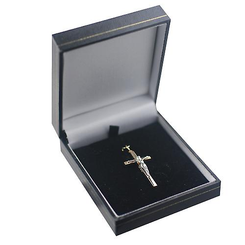 9ct Gold 34x18mm solid block Yellow Cross and White Crucifix