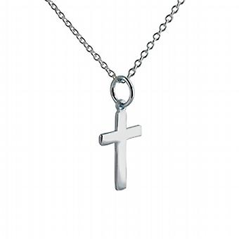 Silver 16x10mm plain flat latin Cross with a rolo Chain 14 inches Only Suitable for Children