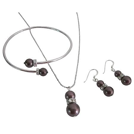 Alluring Swarovski Burgundy Pearls Prom Jewelry Necklace Earrings Set