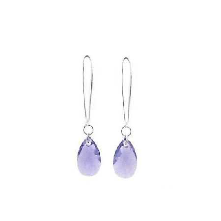 Tanzanite Polygon (#6106) in Silver Hoop Swarovski Polygon Earrings