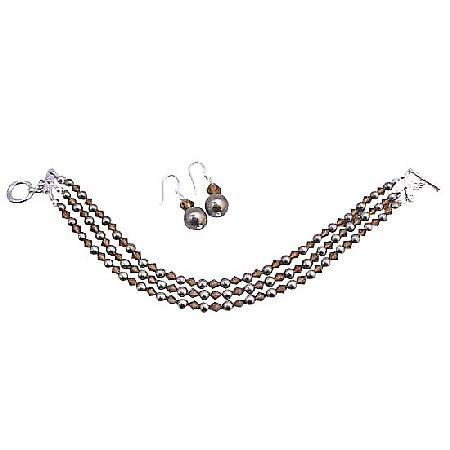 Brown Chocolate Pearl 3 Stranded Swarovski Bracelet & Earrings Set