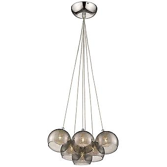 Spring Lighting - Shropshire Chrome Six Light Cluster Pendant With Smoked Glass Shades  FBMJ035TH6EFDP