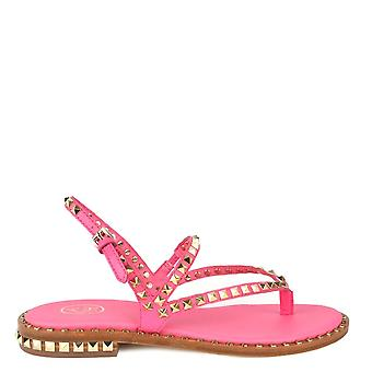 Ash PEPS Sandals Pink Leather Gold Studs
