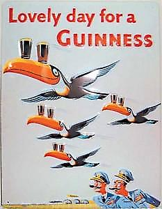 Guinness Flying Toucans Embossed Steel Sign (hi 3040 pt large)