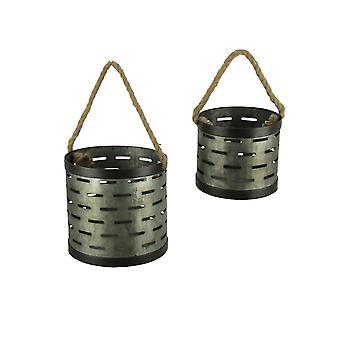 Rustykalne ocynkowanej wyłącznik metalowe pojemniki z liny obsługi zestaw 2