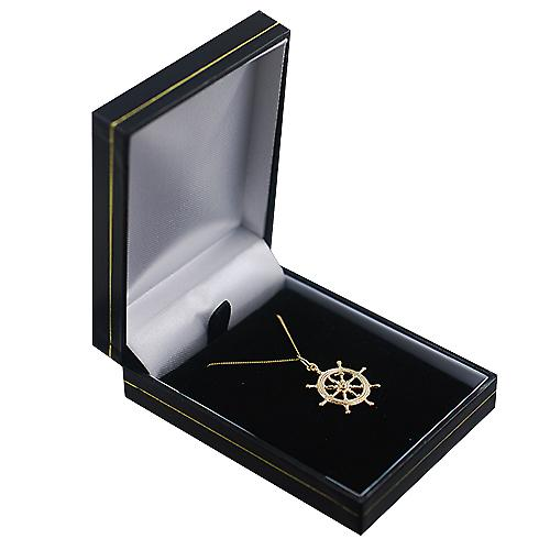9ct Gold 21mm Ship's Wheel Pendant with a curb Chain 16 inches Only Suitable for Children