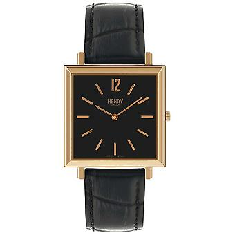 Henry London Heritage Square Black Dial Black Leather Strap HL34-QS-0270 Watch