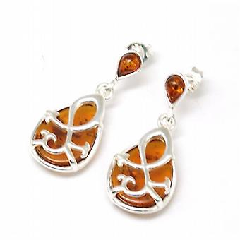 TOC Sterling zilveren Fancy Tear Drop vormige Amber Drop Oorbellen