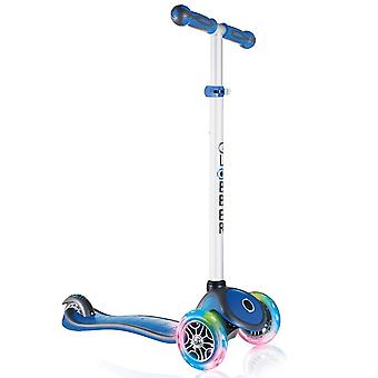 Globber Primo Plus Lights 3 Wheel Scooter With Light Up Wheels Navy Blue