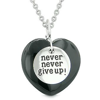 Amulet Never Give Up Inspirational Puffy Magic Lucky Heart Charm Black Agate Pendant 18 inch Necklace