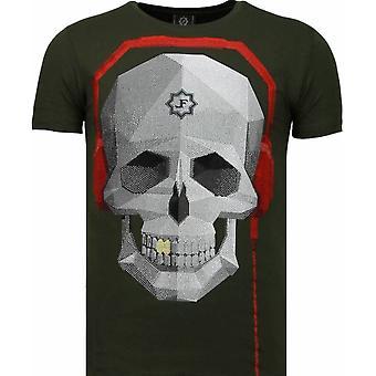 Skull Bring The Beat-Rhinestone T-shirt-Green
