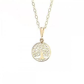 Eternity 9ct Gold Small Round Tree Of Life Pendant & 16