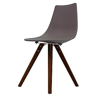 Fusion Living Iconic Slate Plastic Dining Chair With Dark Wood Legs