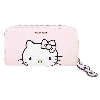 Sanrio Monedero Hello Kitty Logo nuevo oficial rosa Zip Alrededor
