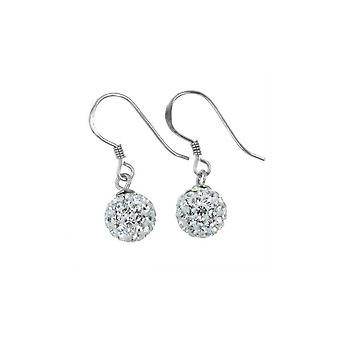 örhängen .925 Sterling Silver All White Micro Pave 8mm Hanging Crystal Ball