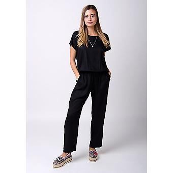 Peony ladies jumpsuit with short sleeves black