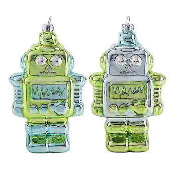 Pair of Metallic Green & Blue Glass Robot Novelty Christmas Decoration Baubles